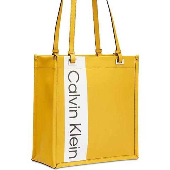 74a954626c Calvin Klein Bags   Nwt Women Yellow Franzy Logo Tote   Poshmark